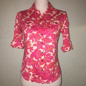 LILLY PULITZER Sz XS Pink Floral Button Down Top